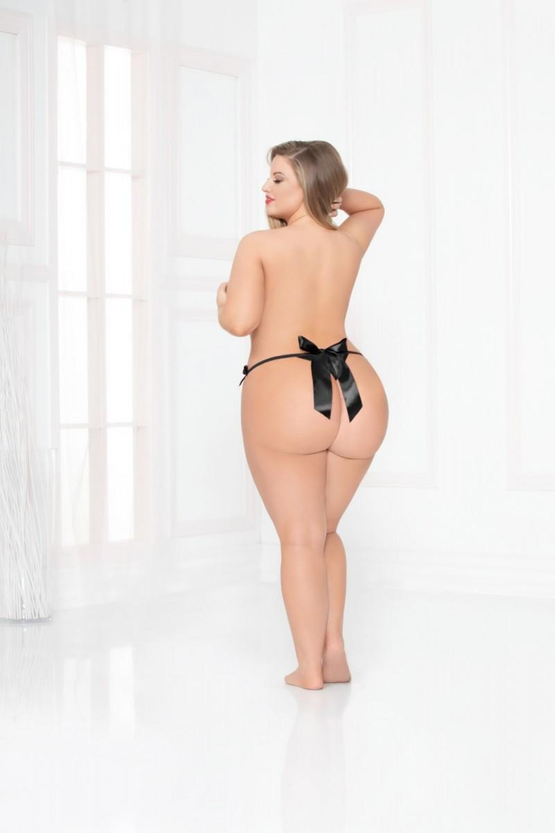 Black Open Crotch Thong rear view