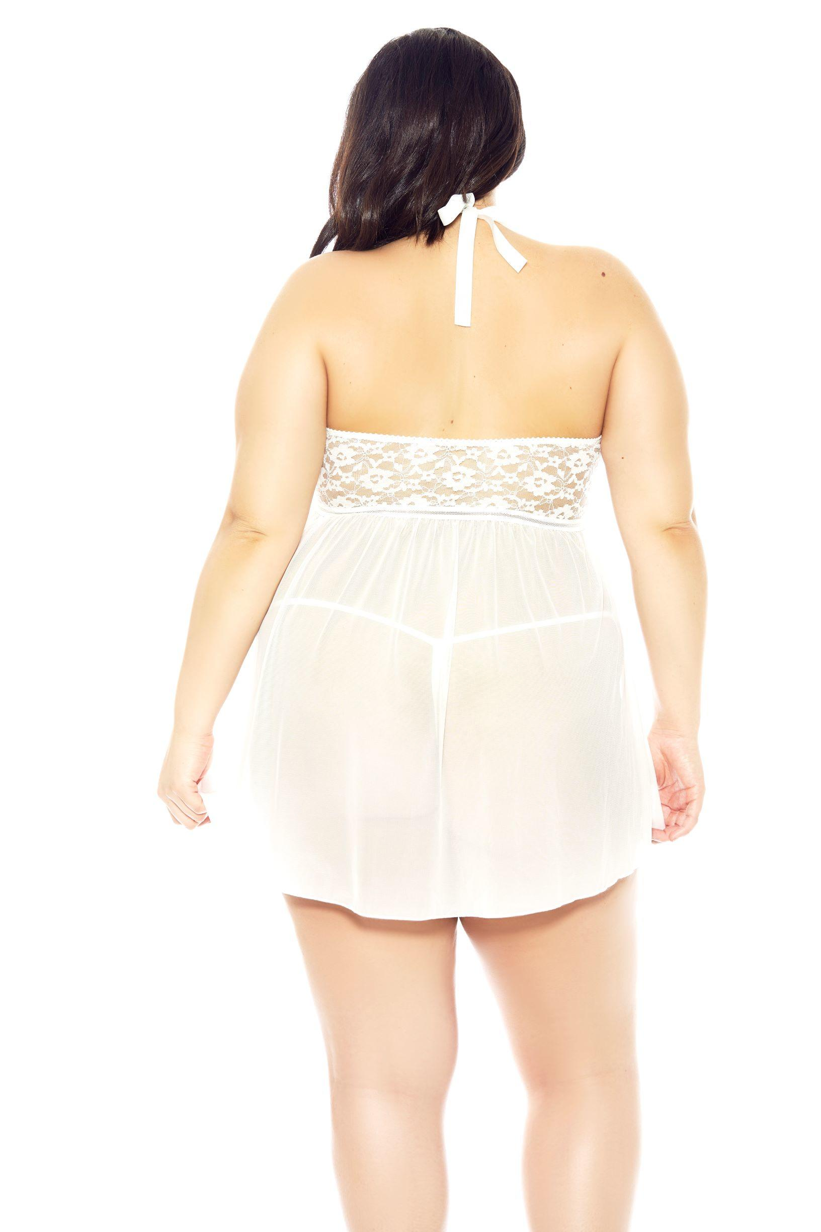 Bella Halterneck White Babydoll rear view