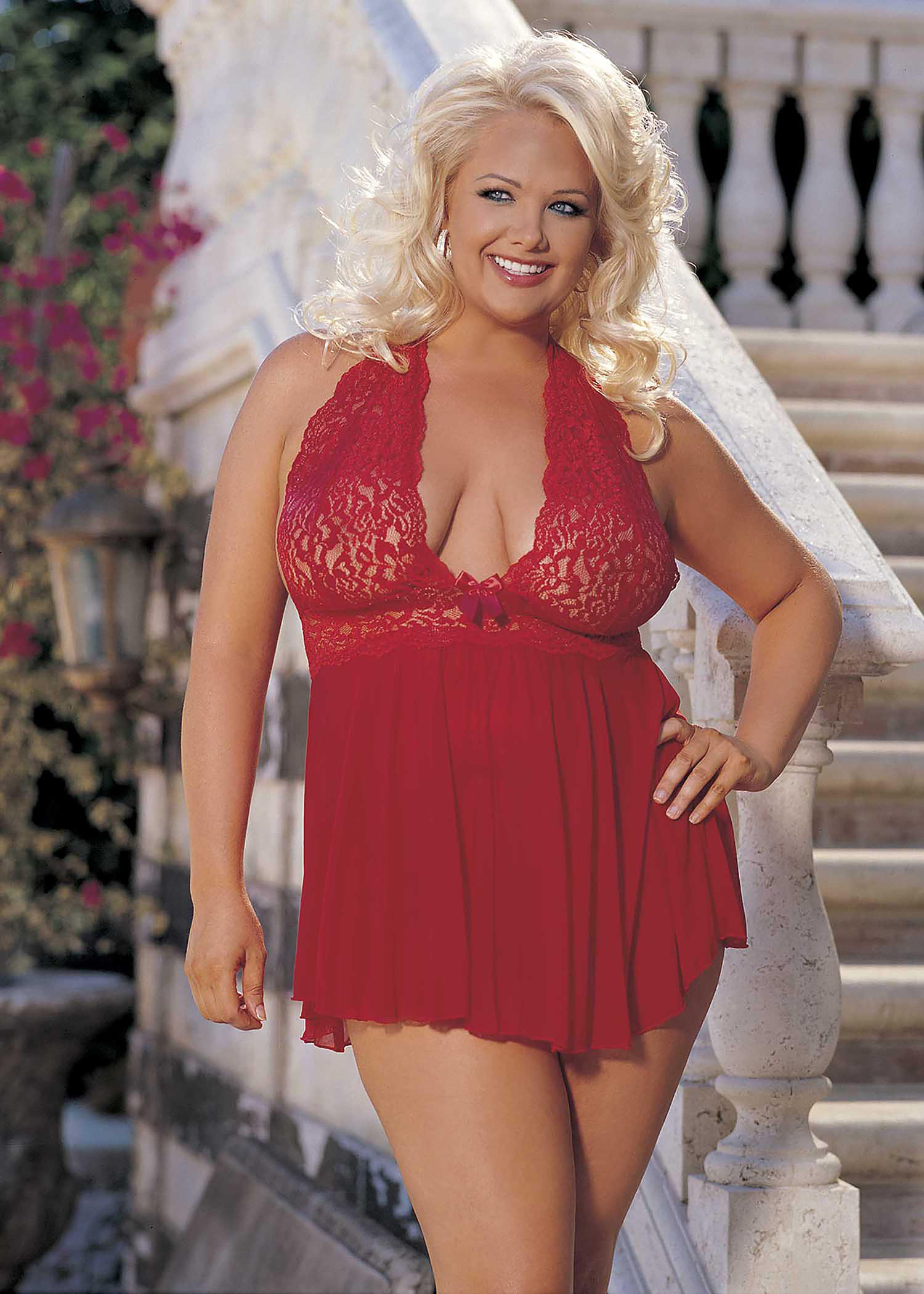 Red Stretch Mesh Babydoll Set