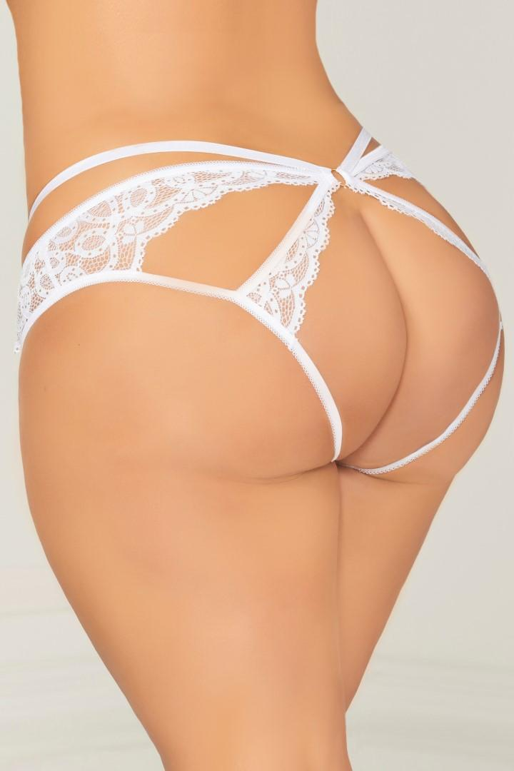 White open crotch panty
