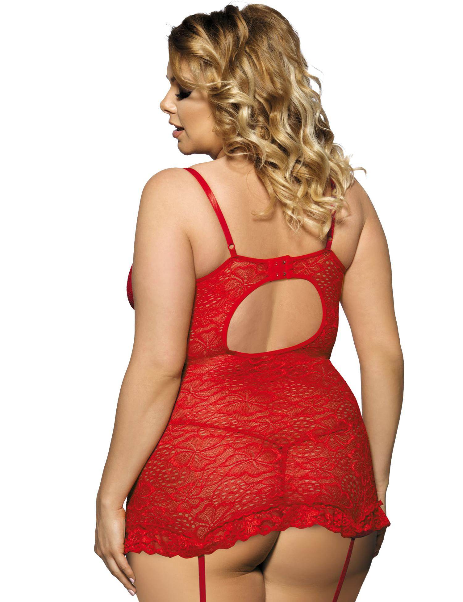 Red Floral Lace Babydoll Set rear view
