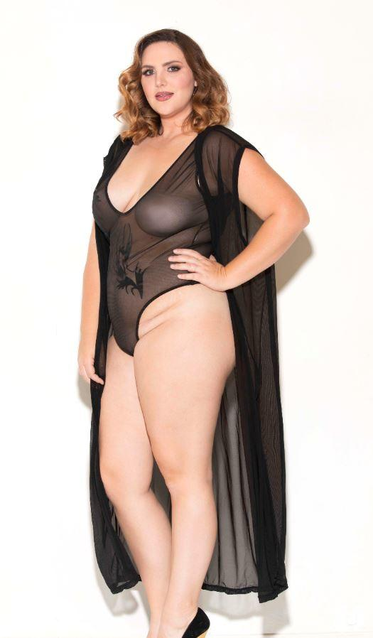 Sleeveless Black Mesh Robe