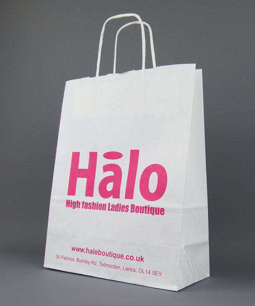 white twisted paper handle carrier bag custom printed