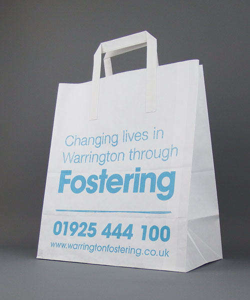 white kraft paper carrier bag printed