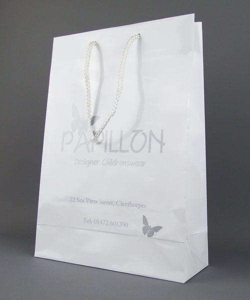 white gloss laminate bag