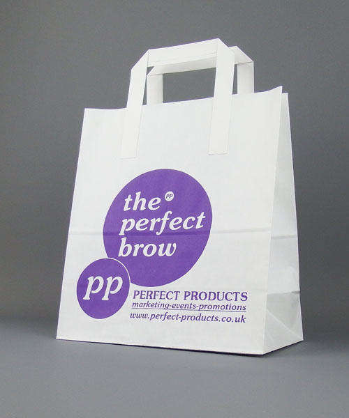 white kraft paper bag printed