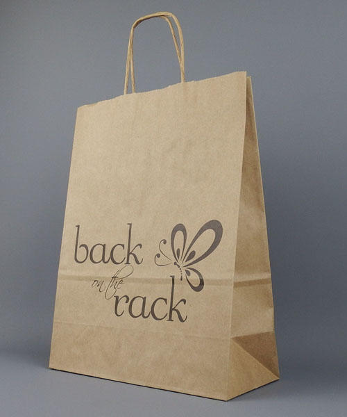 brown kraft twisted paper handle bag