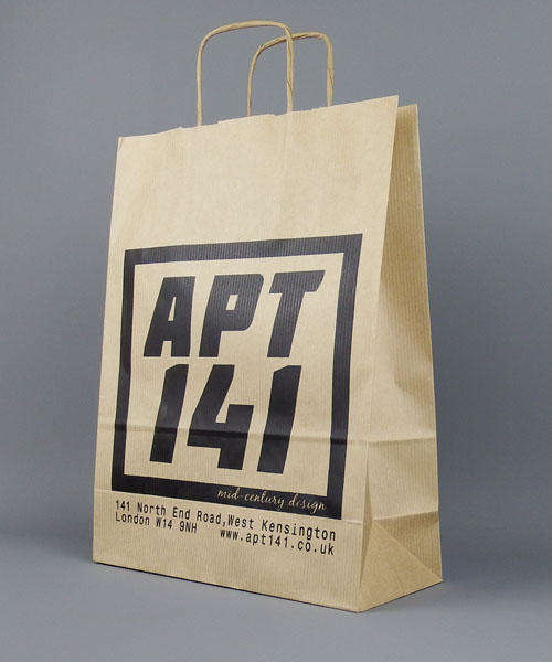 brown kraft paper bag with twisted handle