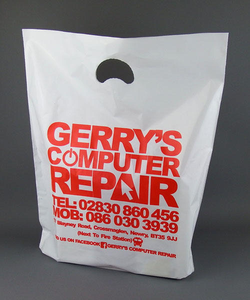 white plastic carrier bags with punched our handle printed
