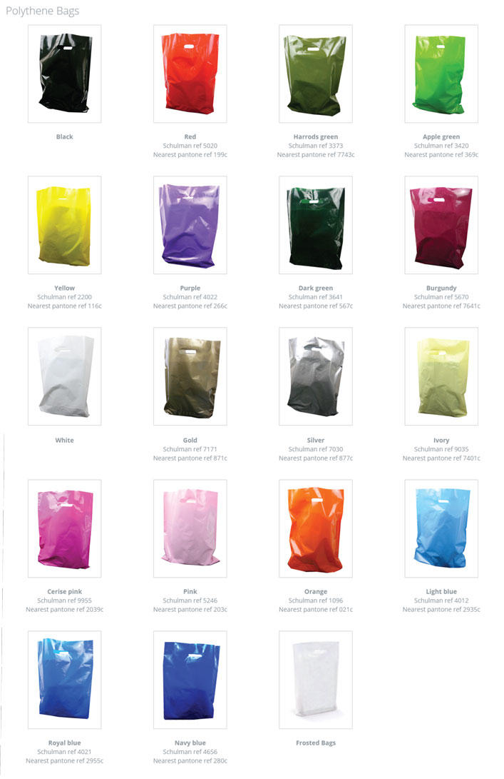 Small Coloured Plastic Carrier Bags Printed