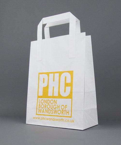 white kraft sos paper carrier bag printed