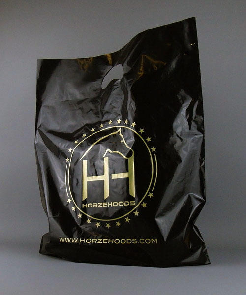 black plastic bag printed with logo