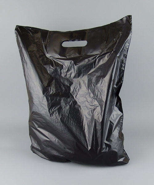 black patch handle plastic carrier bag