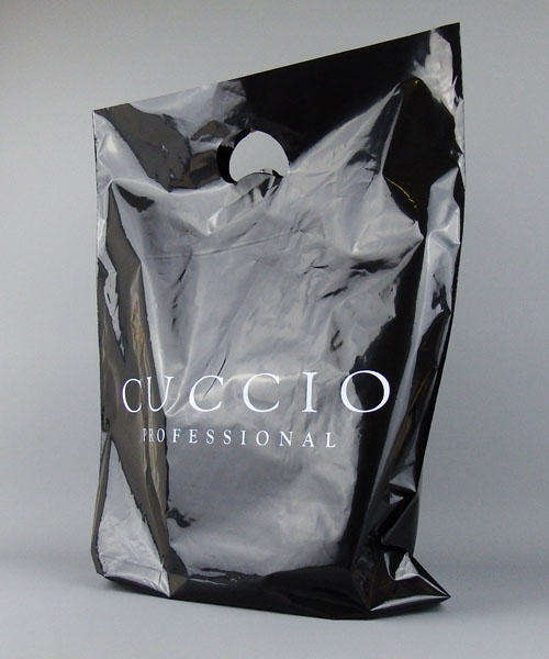 medium black plastic carrier bags custom printed