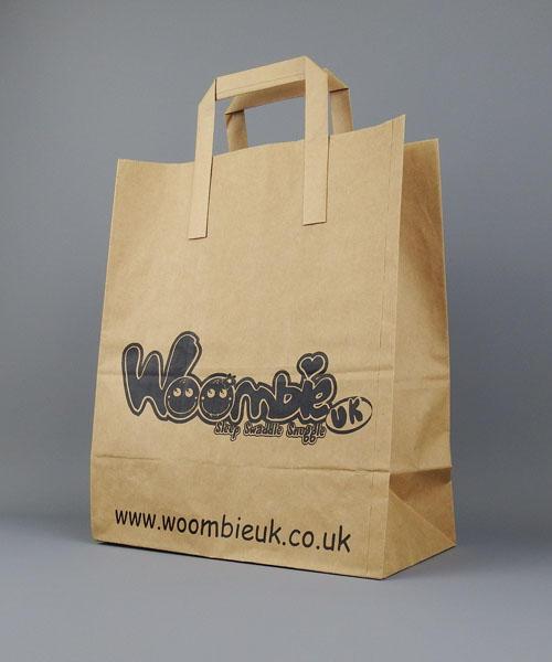 Flat Tape Handle Sos Kraft Paper Bags Brown