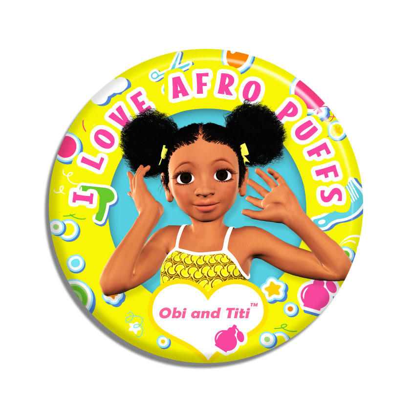 Afro pin badge
