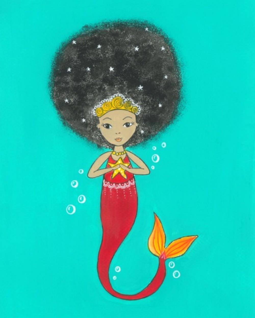 afro girl mermaid