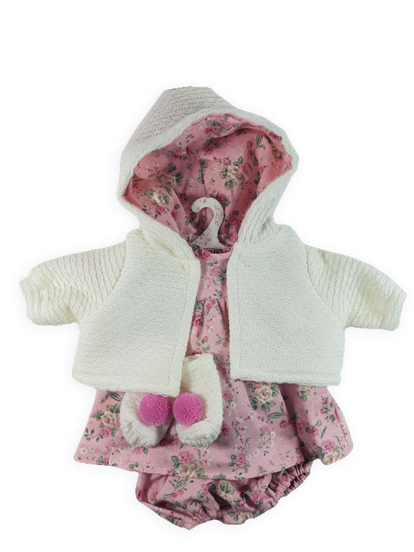 Floral pink dolls dress with white cardigan
