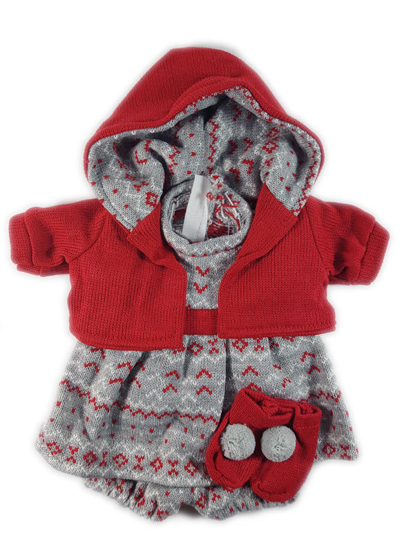 Red and grey dolls outfit