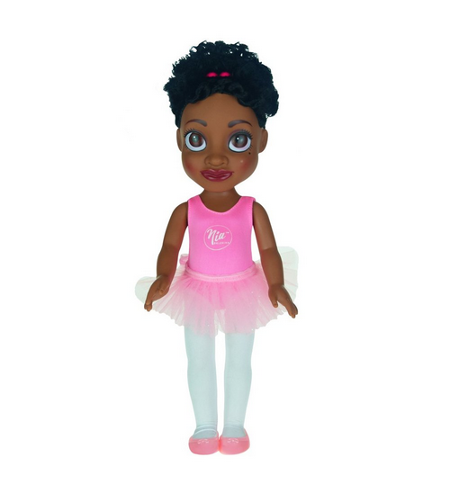 Black ballerina doll in a pink tutu