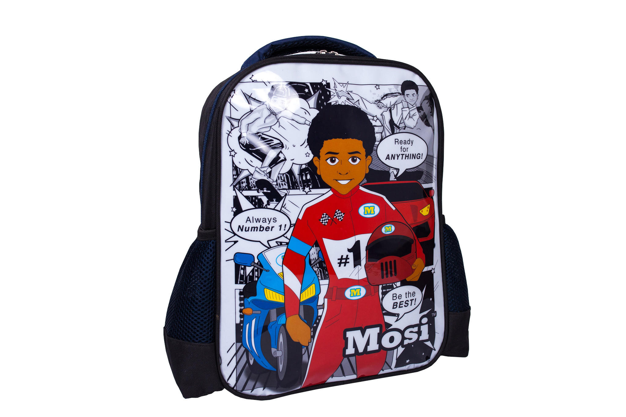 Black boy on backpack