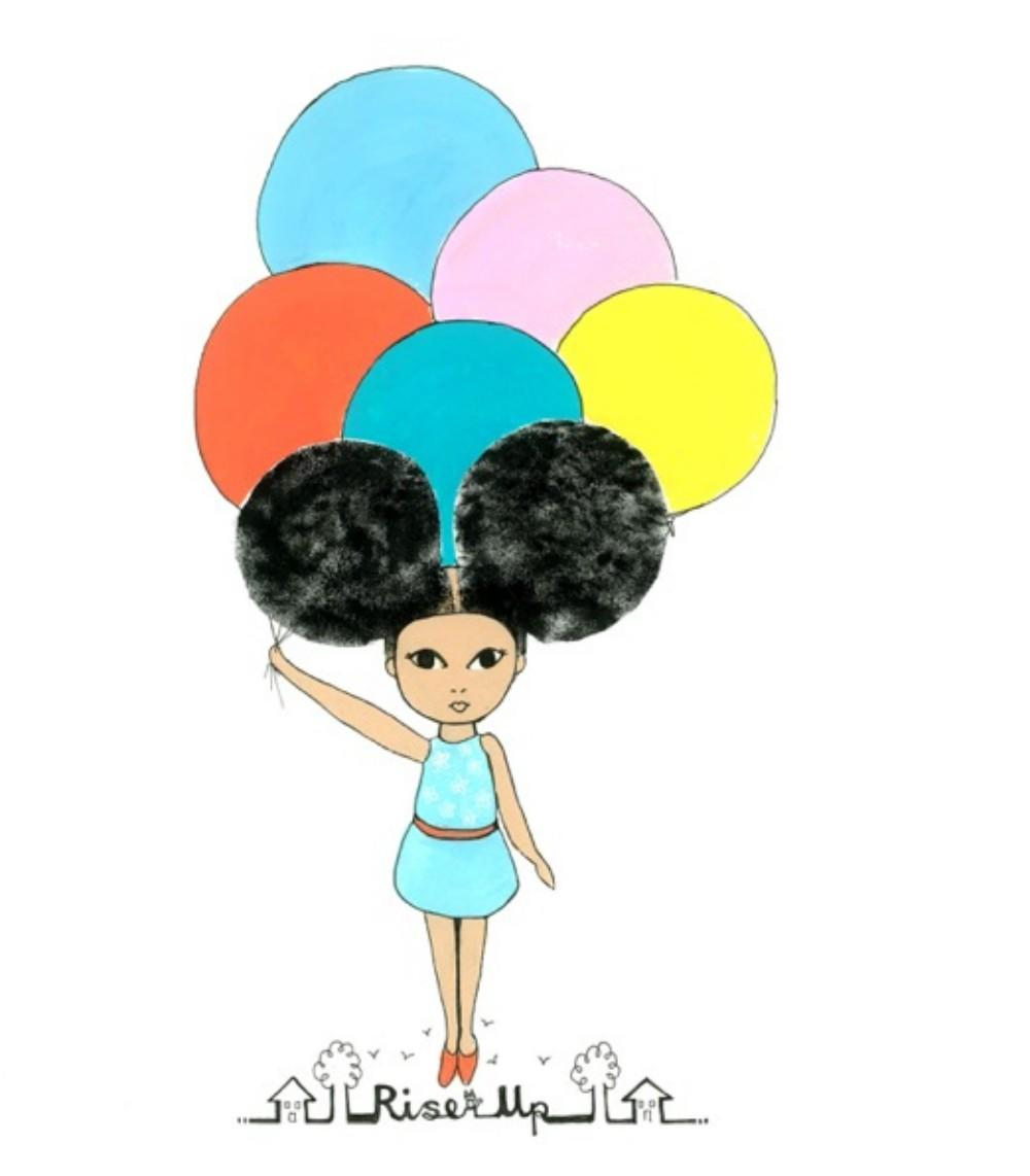 afro girl with balloons
