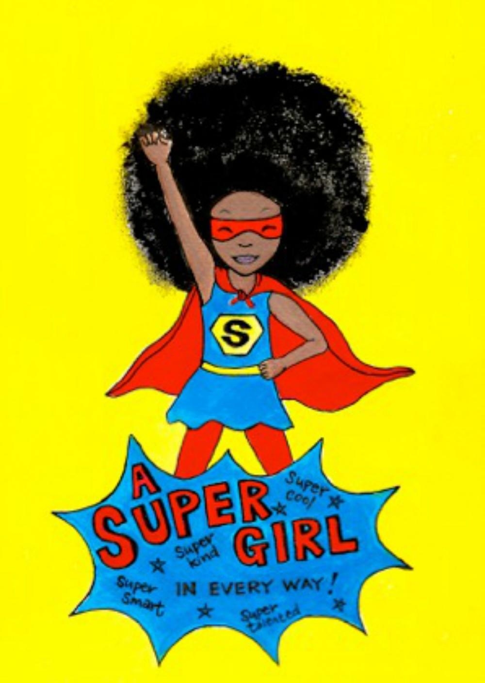 black super girl with afro hair
