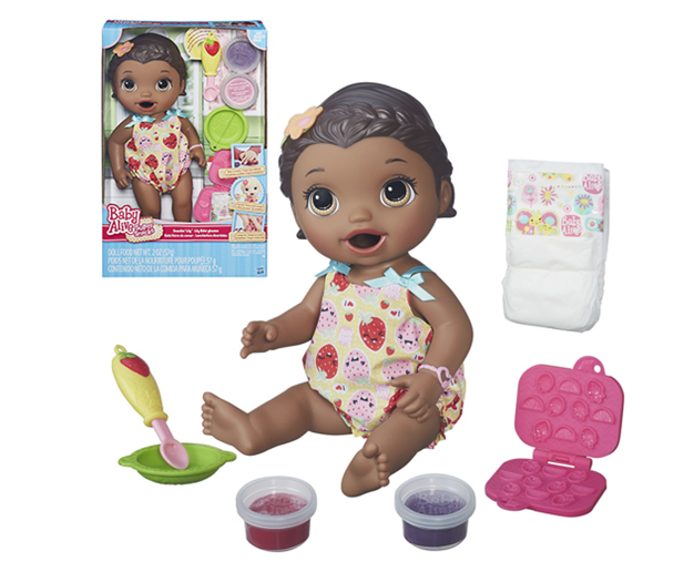 black baby alive lily doll with food
