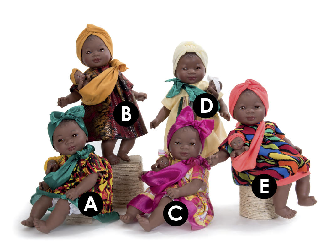 Dolls with African head wraps