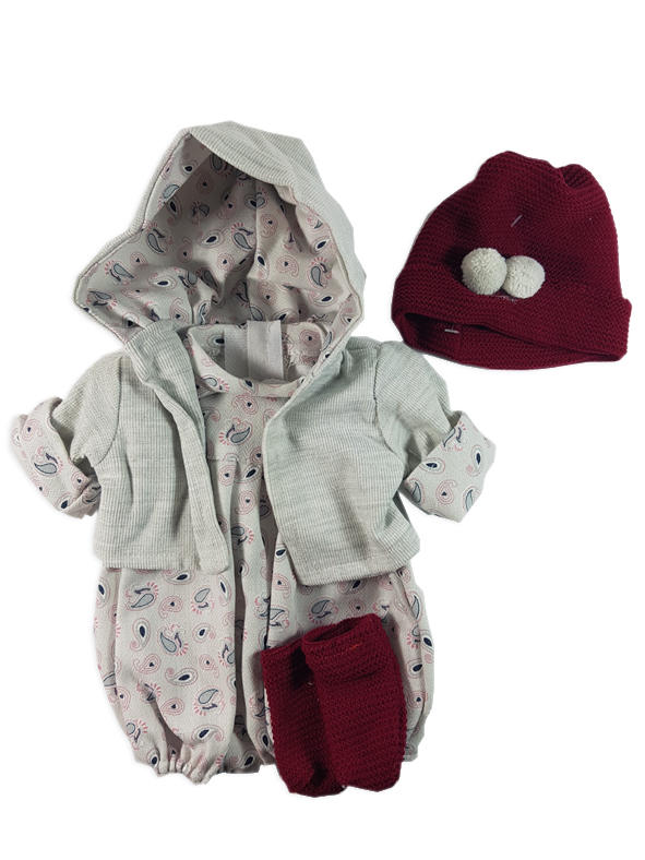 Grey and burgandy dolls outfit