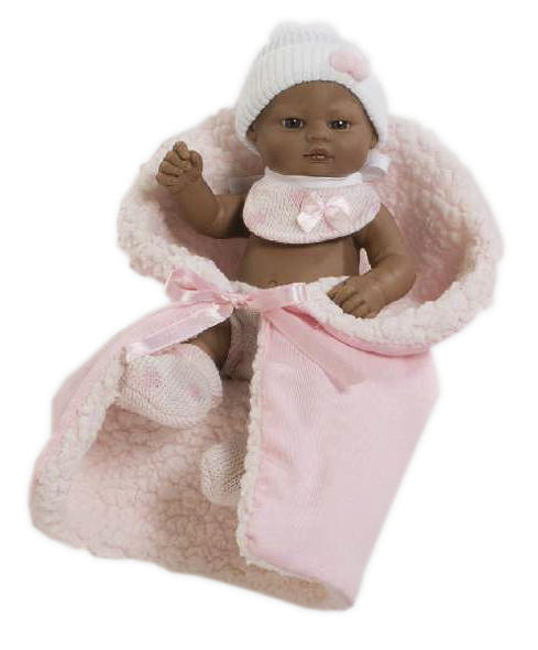 mini black doll with pink blanket