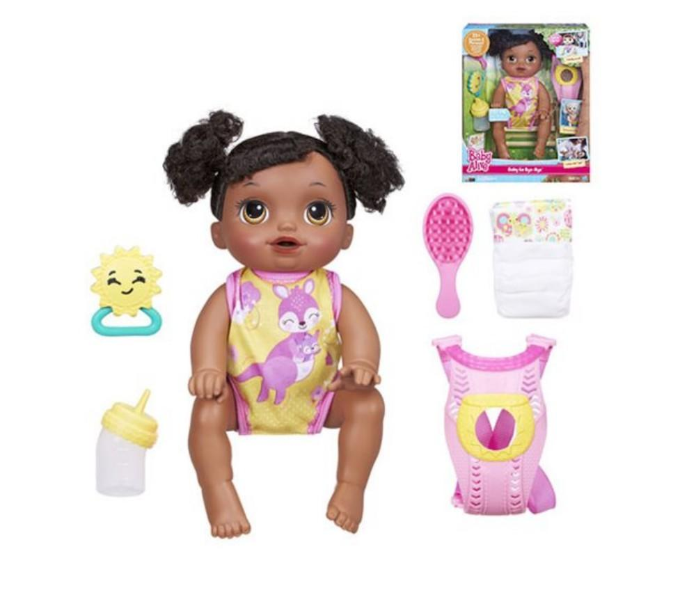 black baby alive in pink and yellow suit