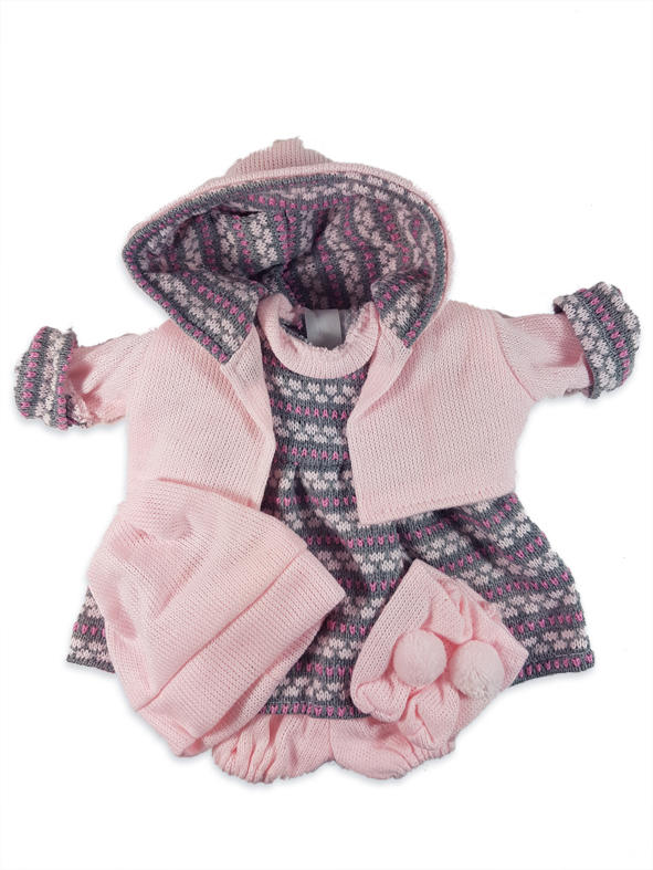 Grey and pink patterned dolls outfit