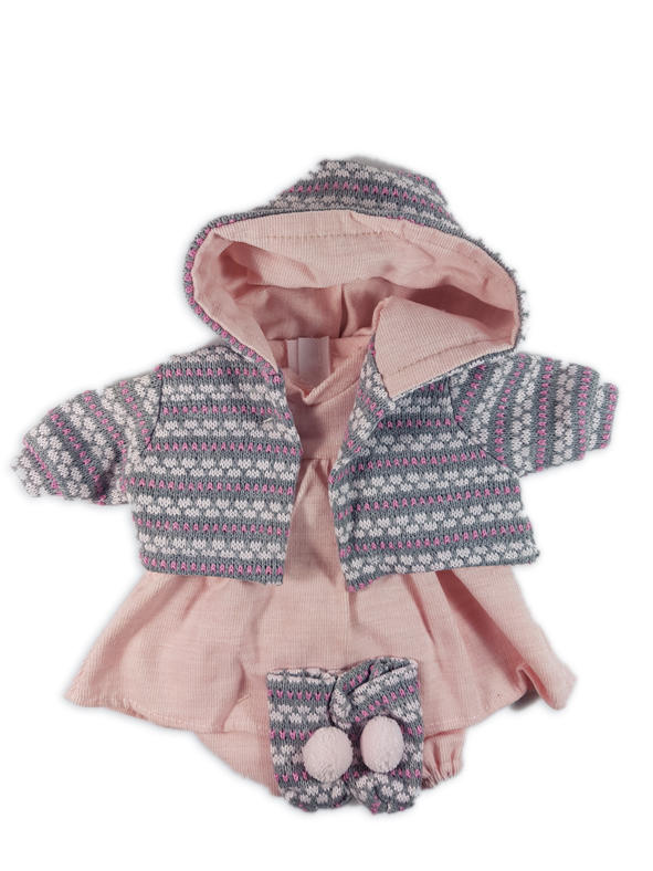 Pink dolls dress and patterned cardigan