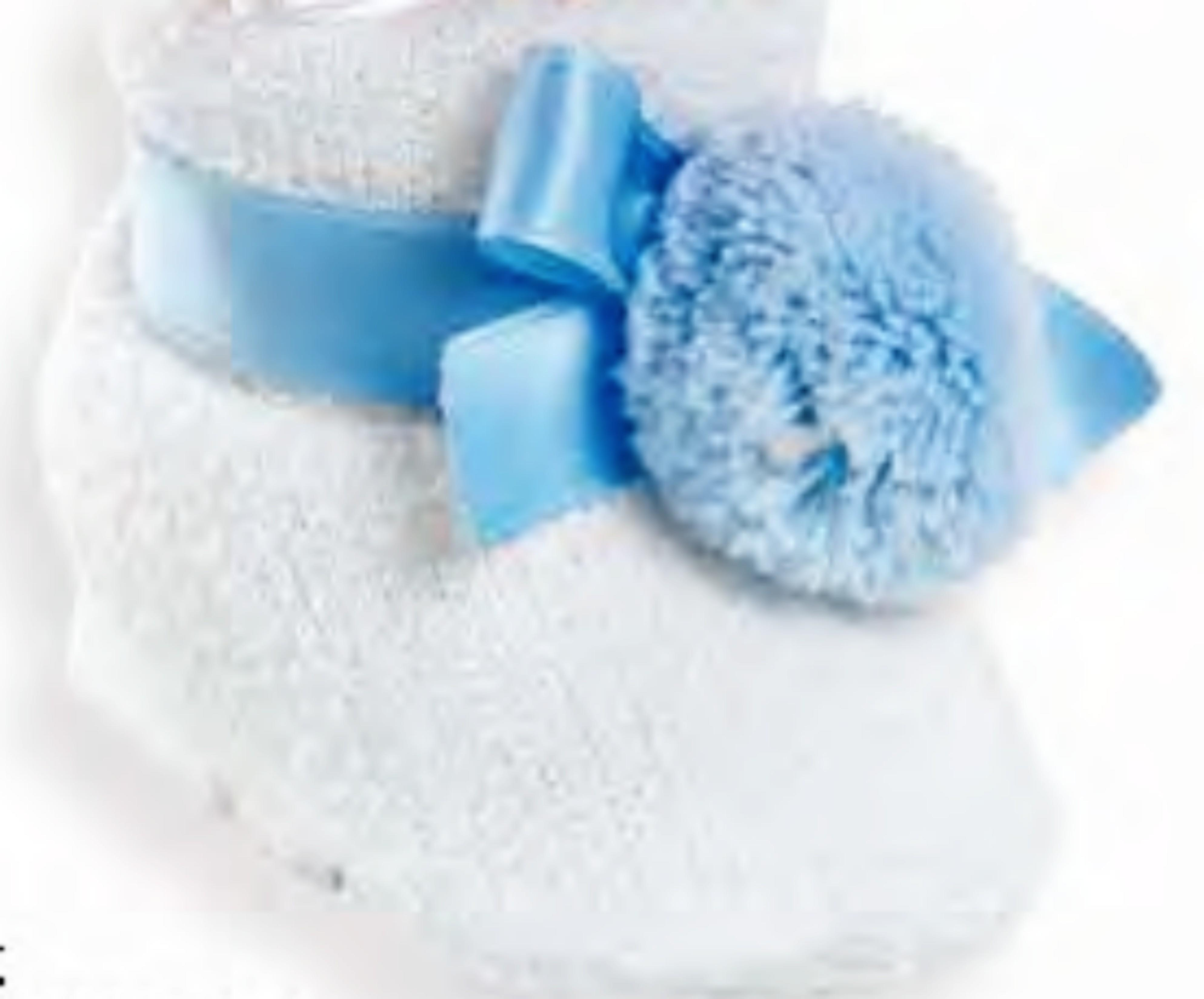 blue and white bootie