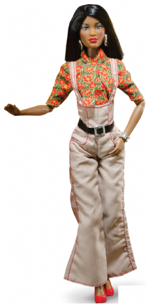 Lena doll in beige dungarees