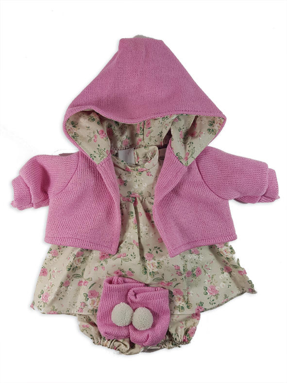 Floral pink dolls dress with pink cardigan