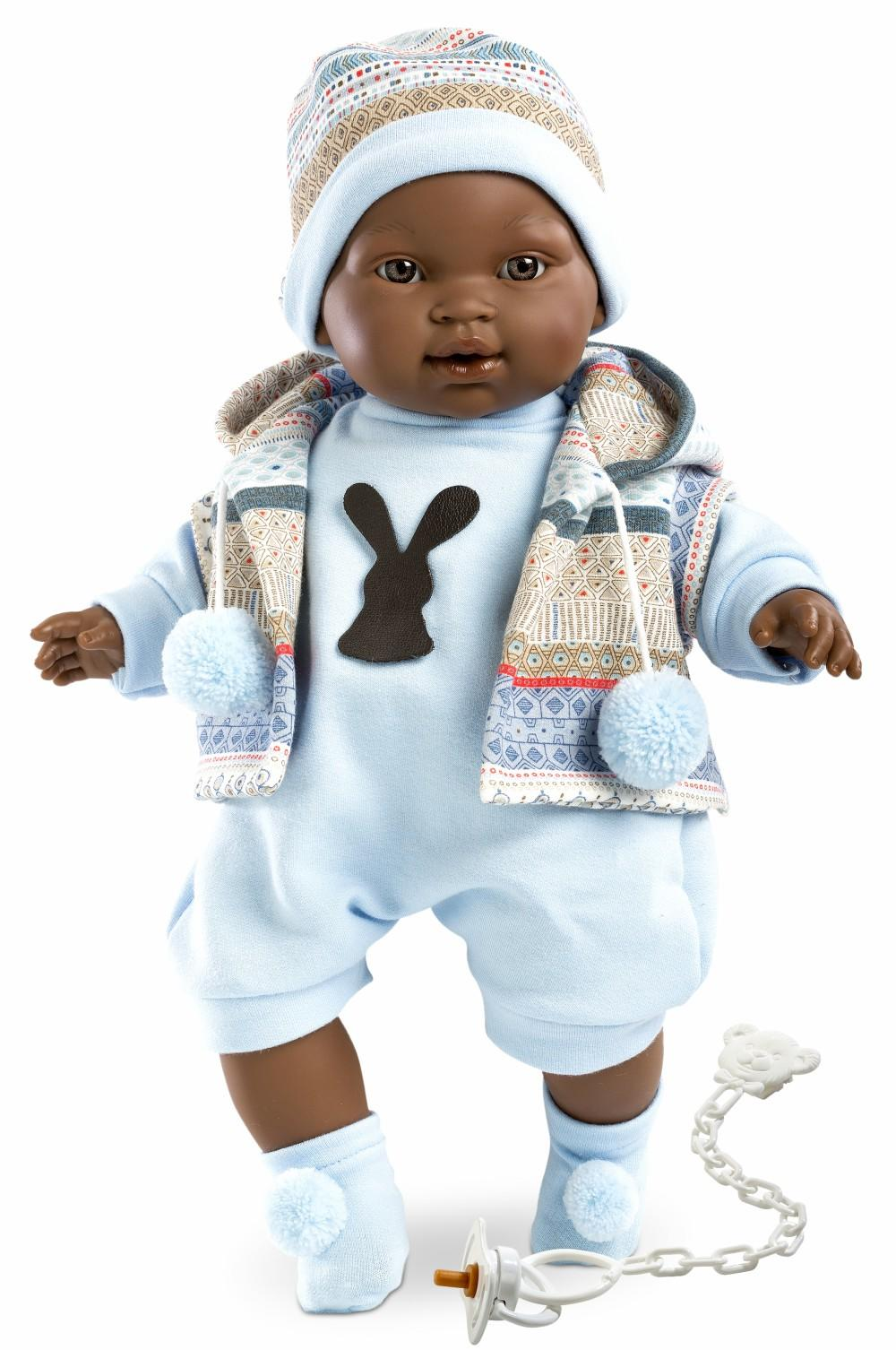 black boy doll in a blue outfit