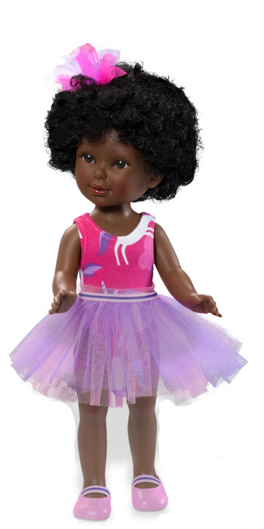 paulina afro doll with purple tutu