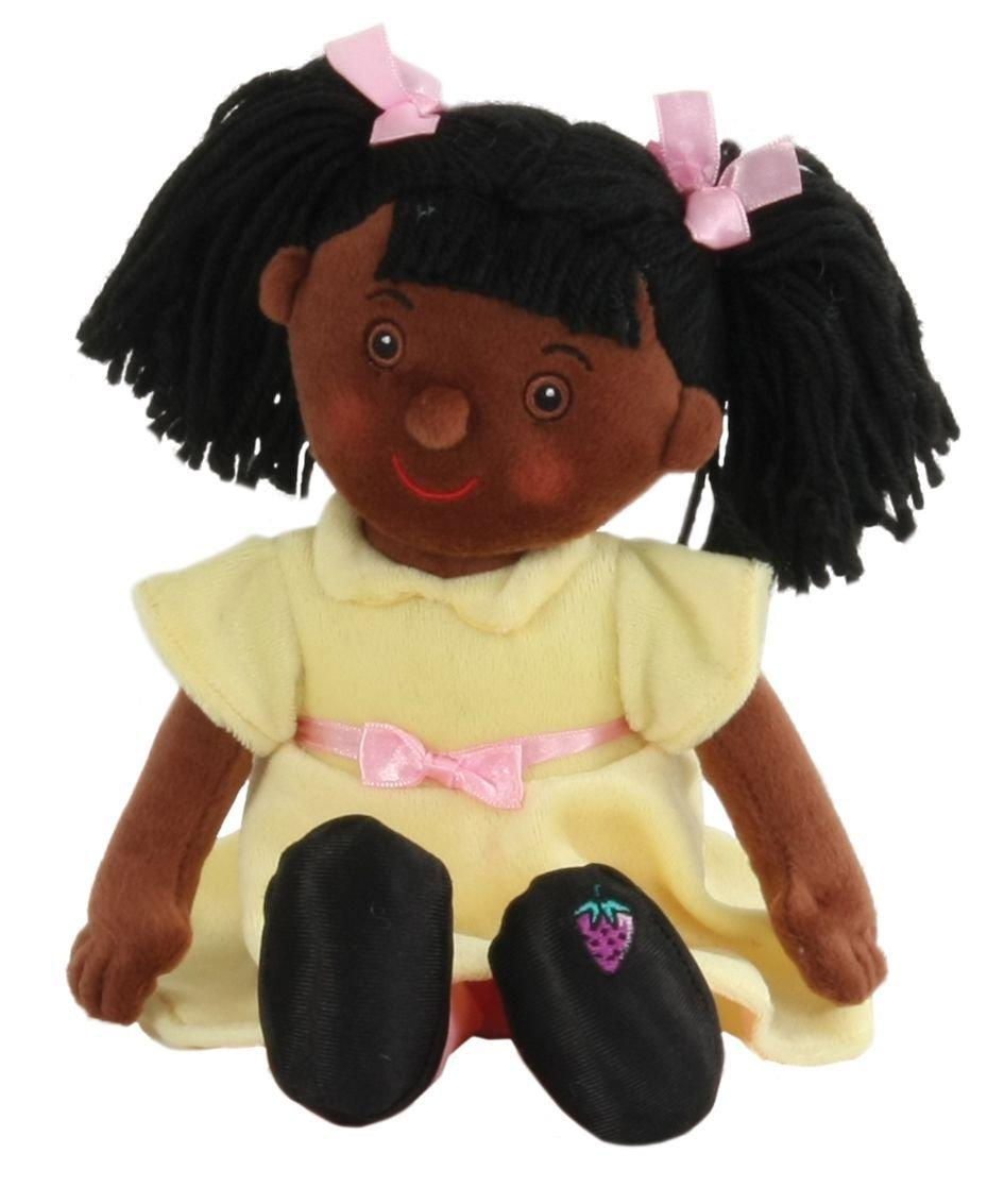 Jasmine black rag doll in a yellow dress