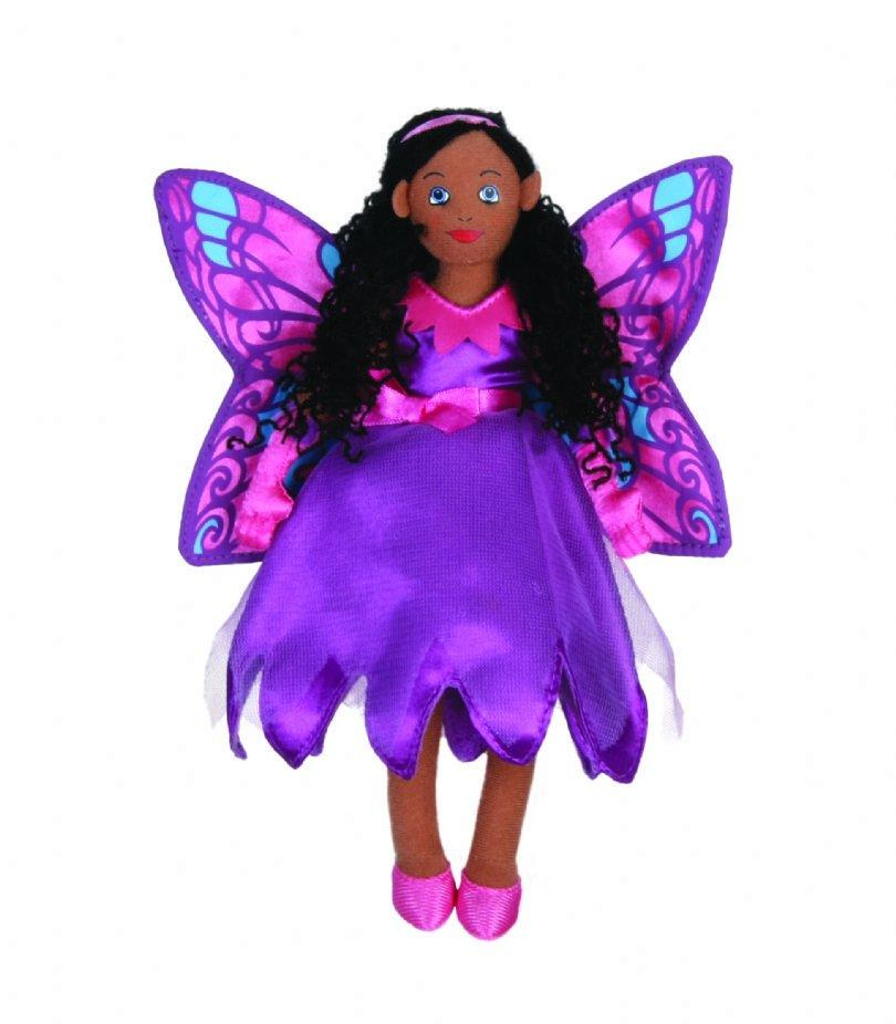 Ethnic finger puppet fairy in purple dress