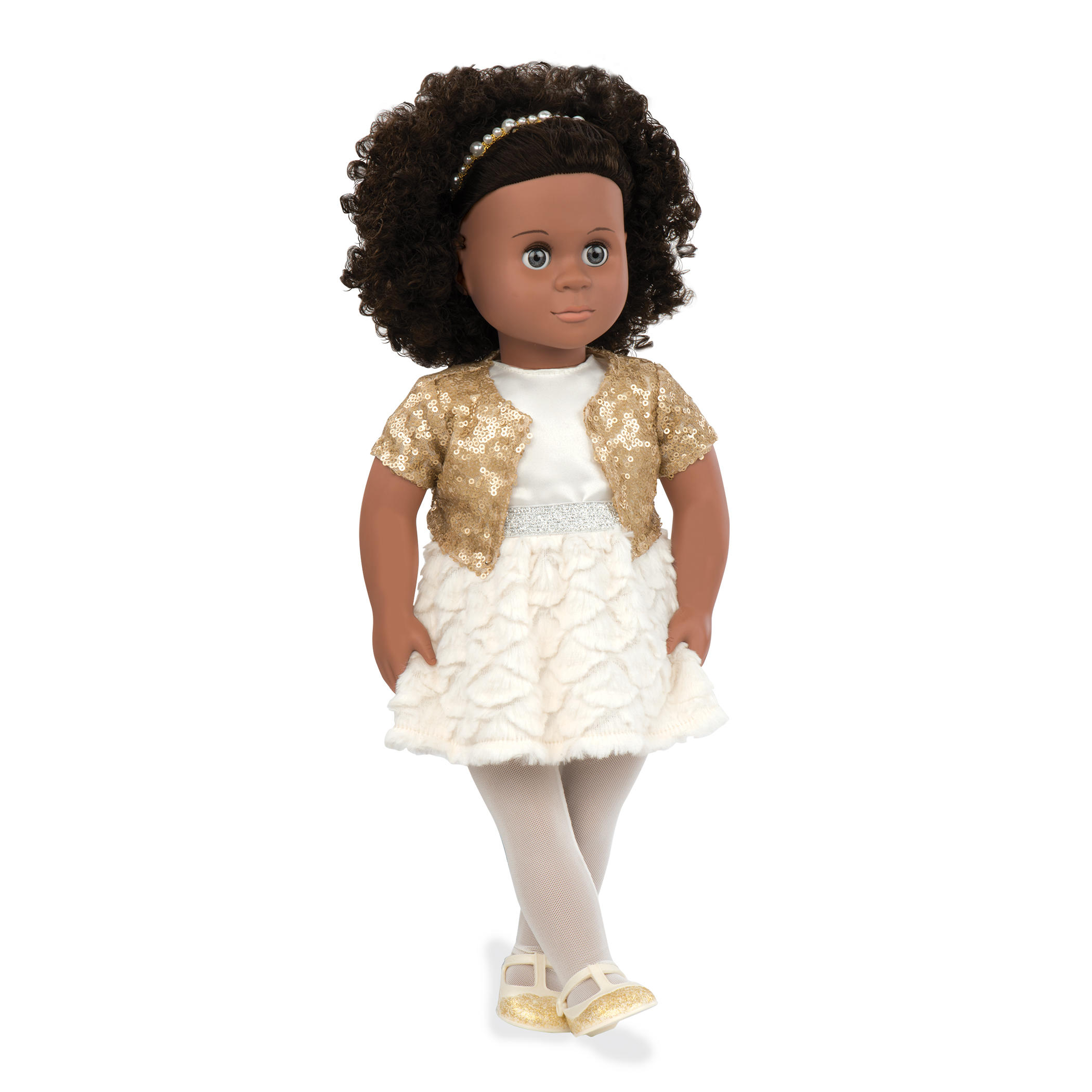 black doll in white dress and afro hair