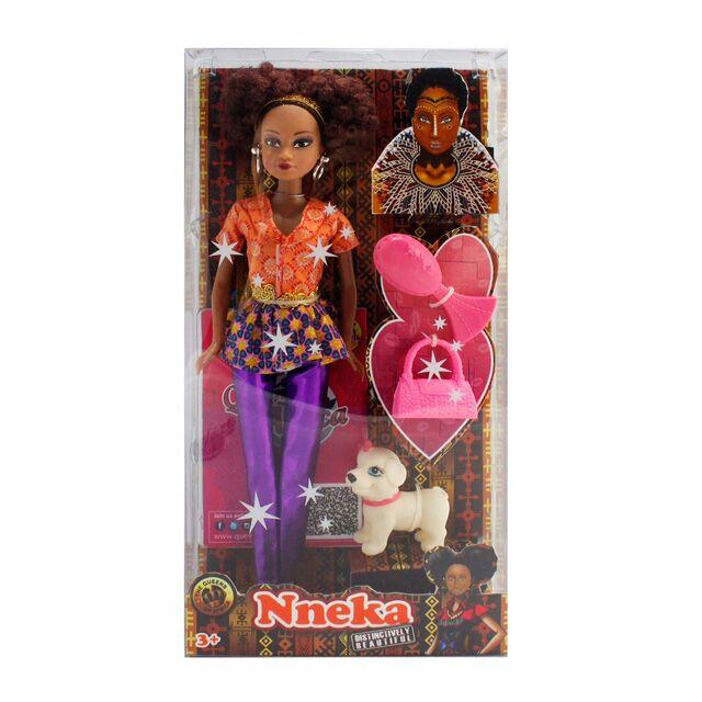 Nneka african doll and puppy in a box