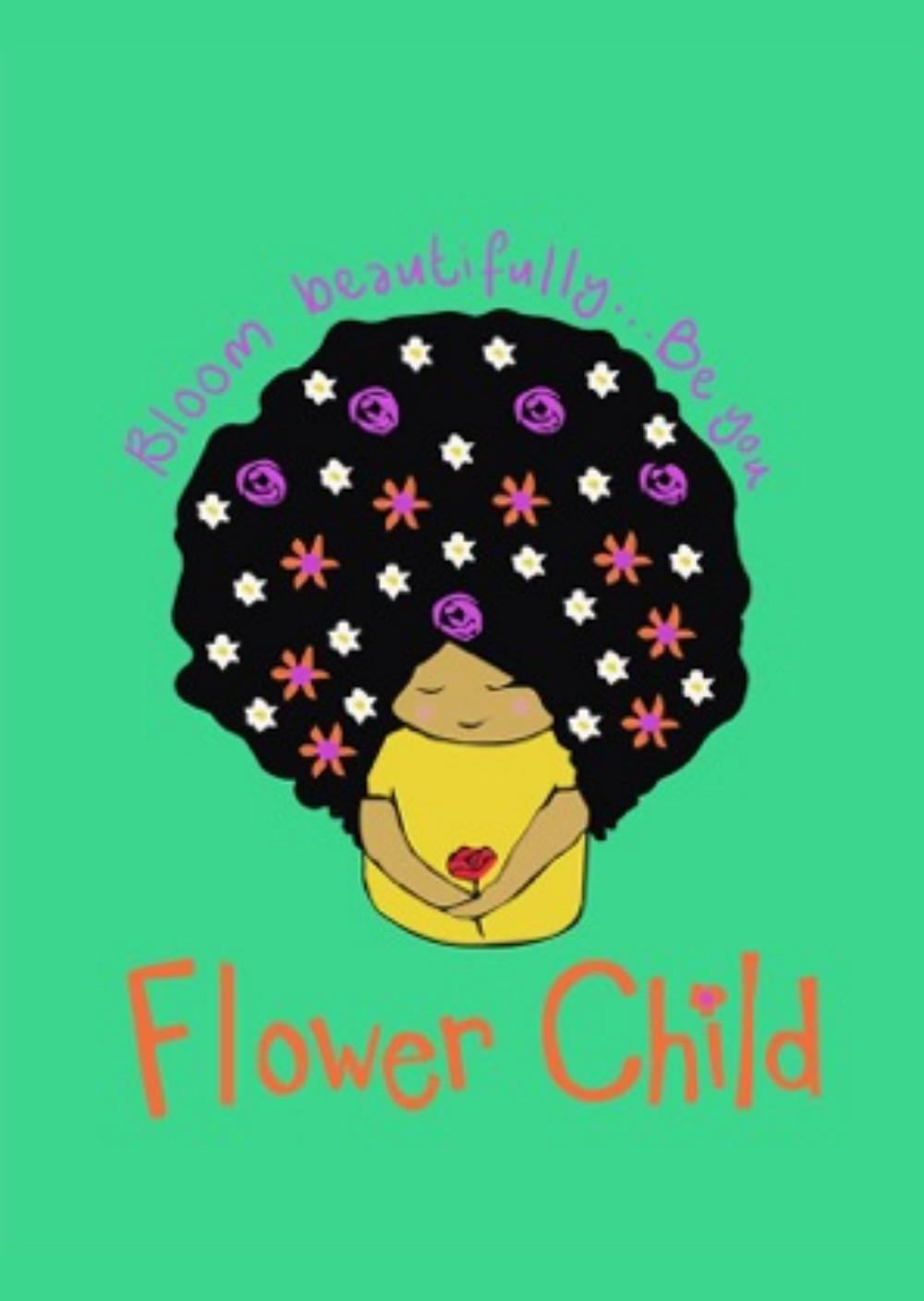 afro girl with flowers