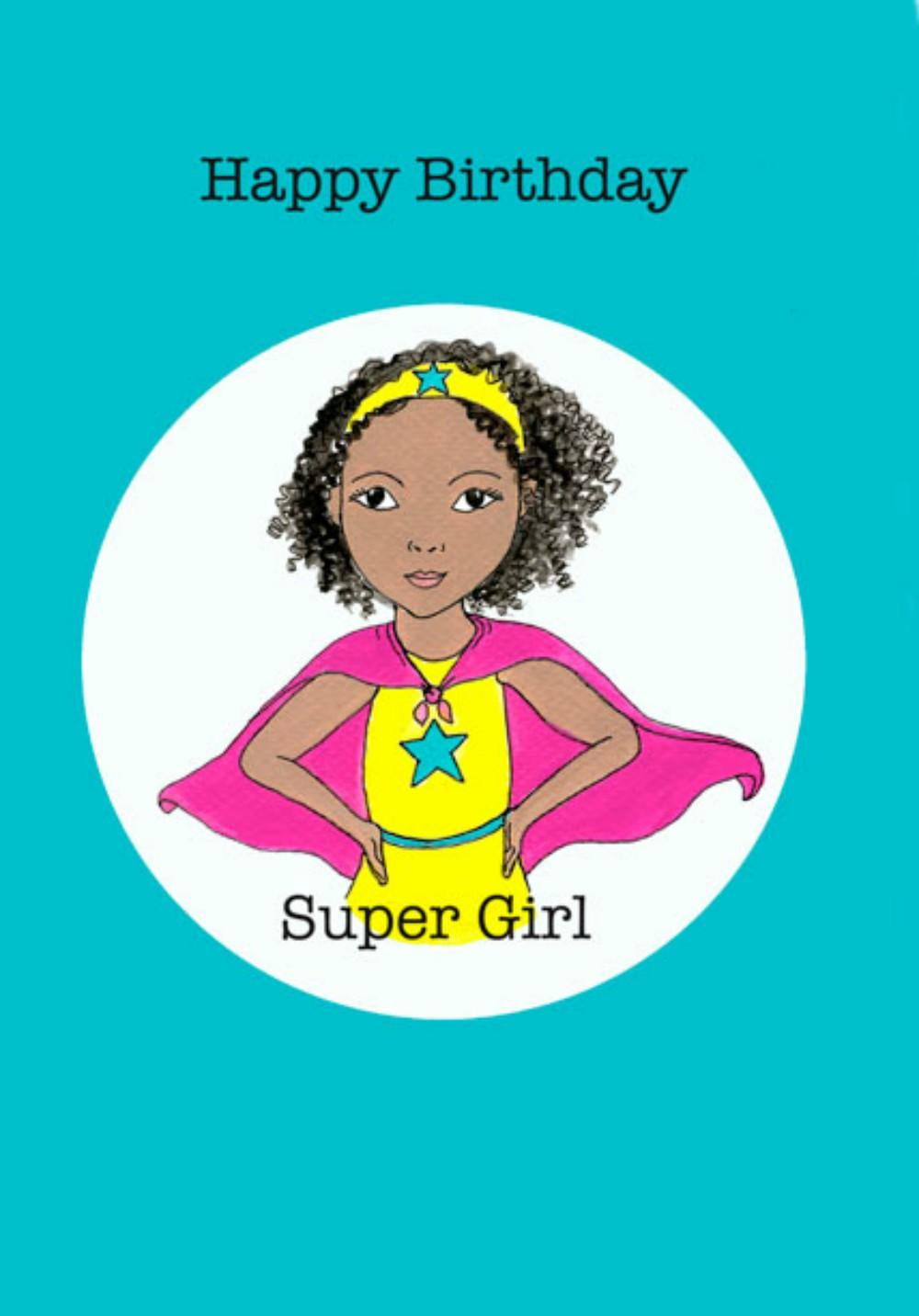 black girl super hero card