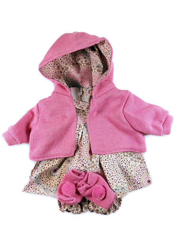 Pink patterned dolls outfit with pink cardigan