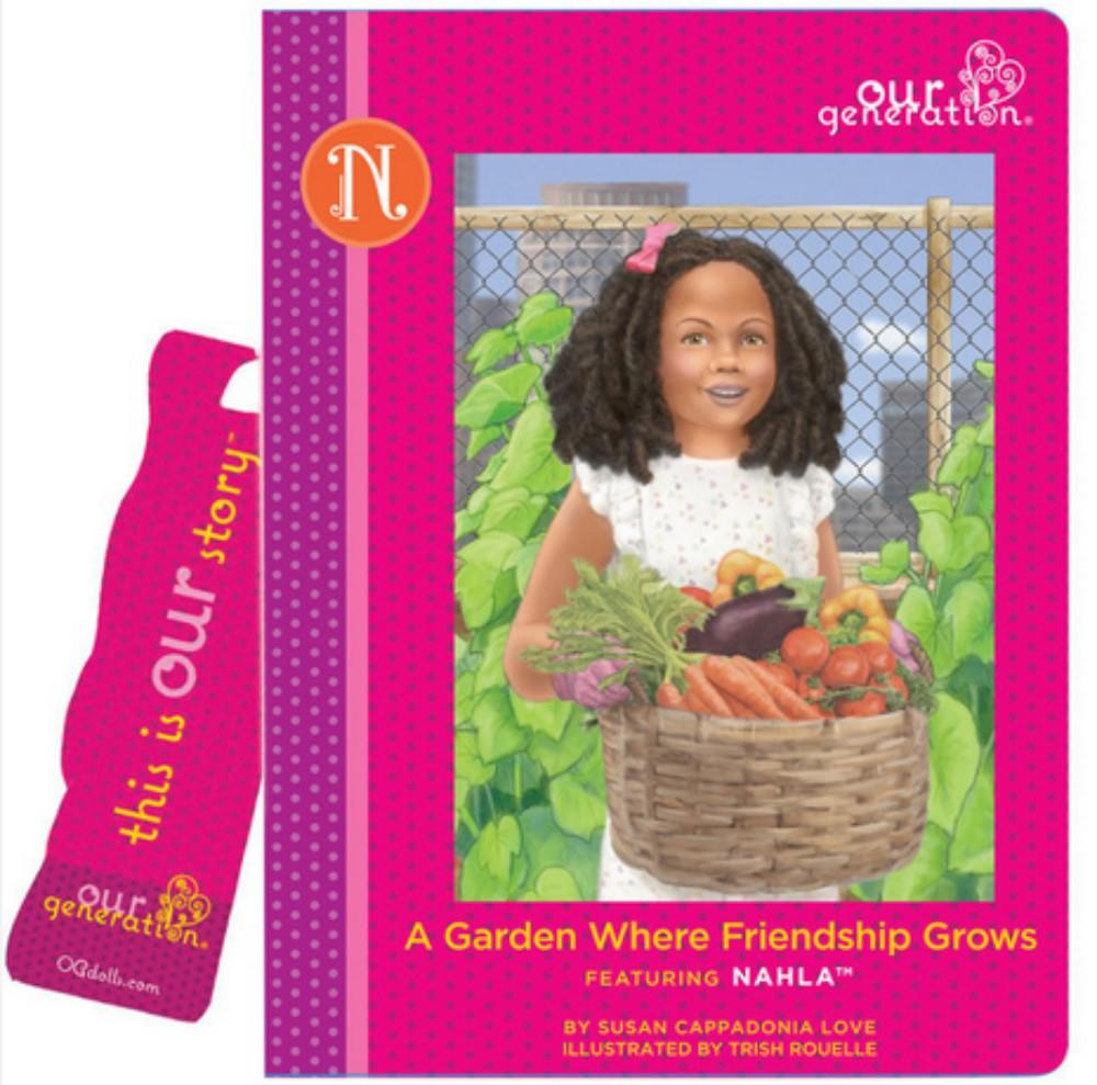pink gardening book for nahla doll