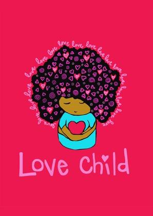 girl with afro and love hearts