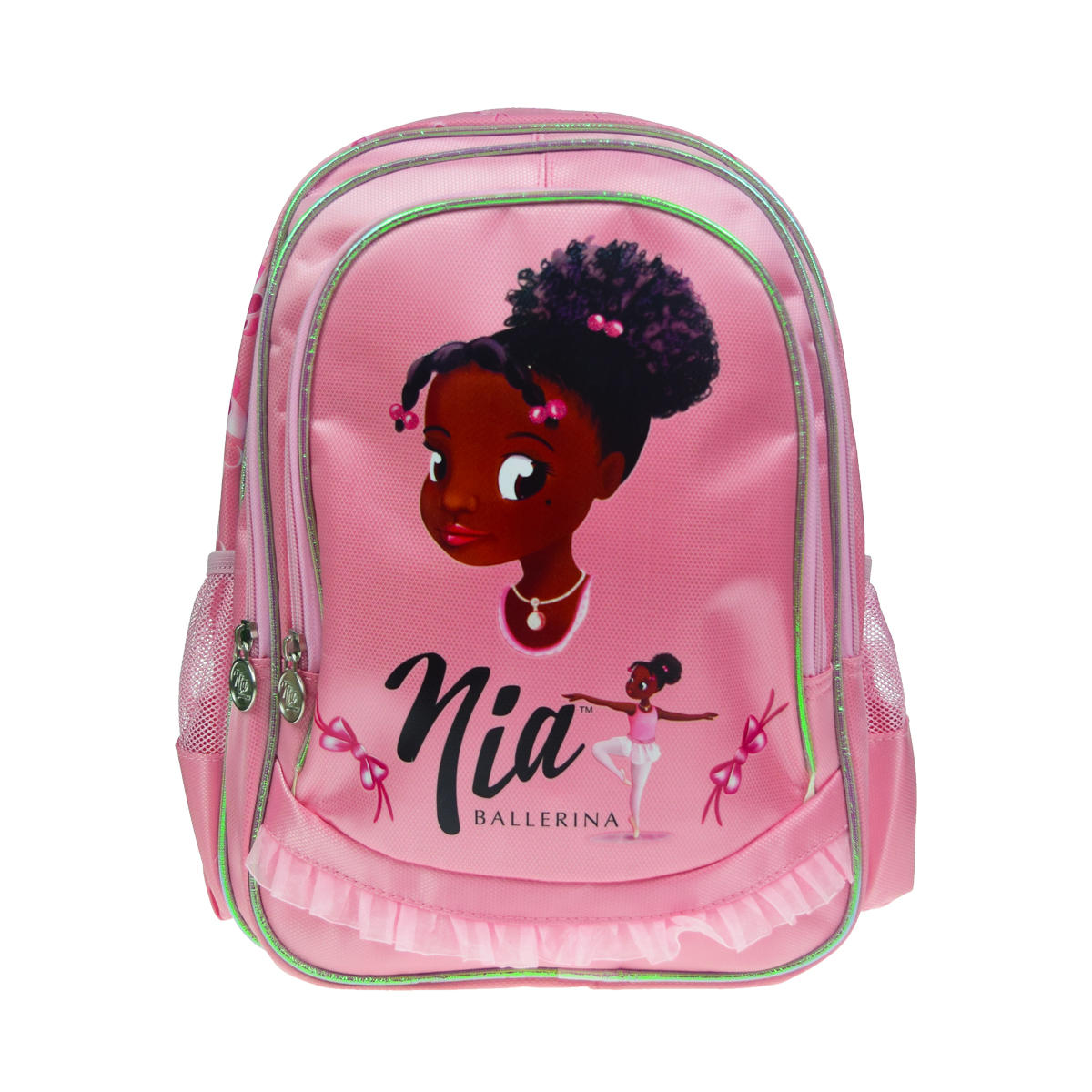 Pink rucksack with black ballerina