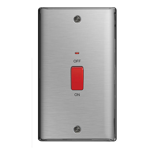 bg nbs72 nexus brushed steel 45a dp vertical switch with. Black Bedroom Furniture Sets. Home Design Ideas